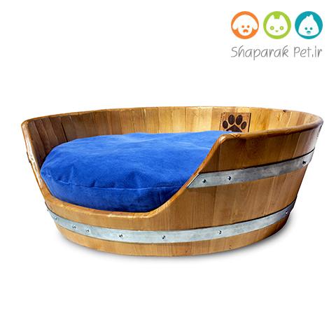 جای خواب سگ چوبی همراه با تشک
