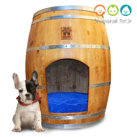خانه چوبی سگ همراه با تشک