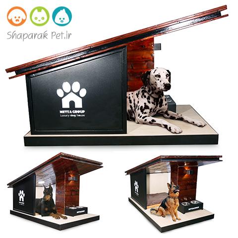 خانه سگ چوبی شیروانی دار همراه با ظرف غذای مجزا