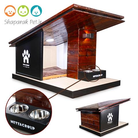 خانه چوبی سگ شیروانی دار همراه با ظرف غذا